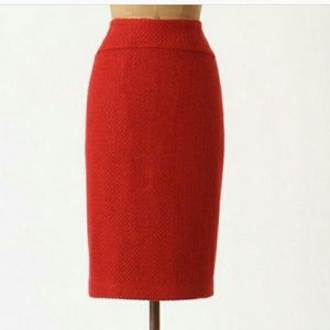 Anthropologie Red Boucle Skirt